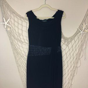 LAUREN RALPH LAUREN Evening Navy Beaded Maxi Dress